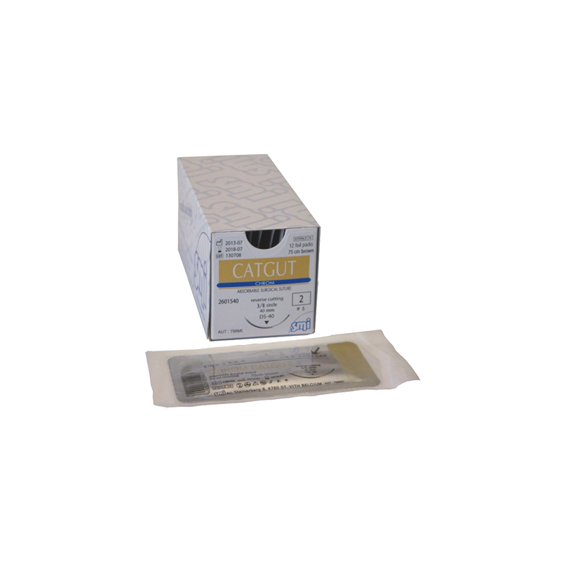 CATGUT SMI SOBRE ESTERIL USP 2 - 75 cm - CON AGUJA 3/8 40 mm (12 u.)